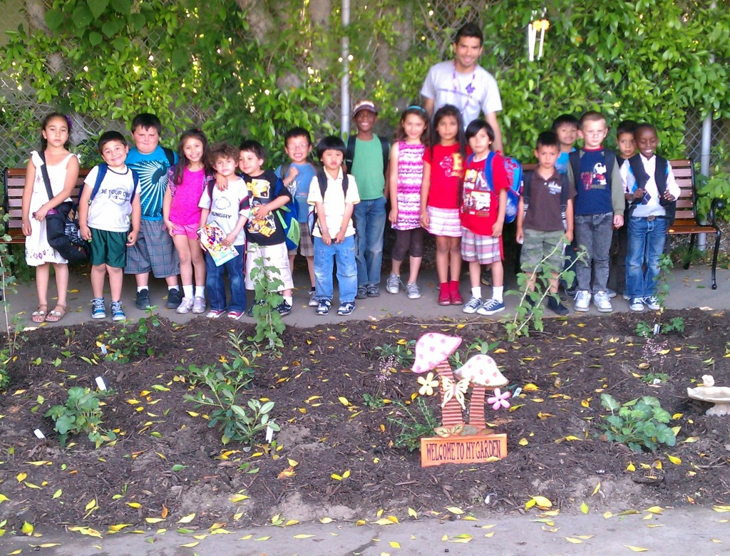 Kindergartners with their new native plant garden at Burbank Elementary School (in partnership with LA'S BEST)